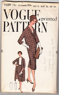 Vintage 1958 Vogue 9489 UNCUT Sewing Pattern by SewUniqueClassique