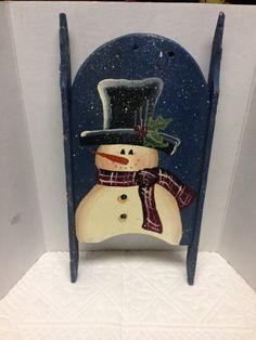 Handpainted Snowman Wooden Sleigh Vintage Primitive Snowman Wooden Sleigh