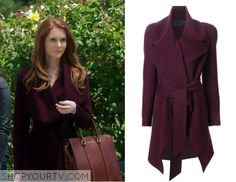 Abby Whelan (Darby Stanchfield) wears this purple belted asymmetric coat in this week's episode of Scandal. It is the Donna Karan Belted Coat. Buy it HERE for $4400