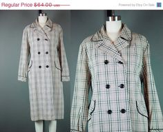 SALE Vintage 60s Plaid Raincoat Coat 1960s Water by mustangannees