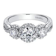 Gabriel & Co. Triple Halo Diamond Engagement Ring #justicejewelers #gabrielandco