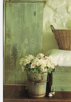 Shades of Old Green ~ Shabby Chic Cupboard, Chest with Basket and Wooden Bucket… Pot Pourri, Vibeke Design, Deco Floral, Shades Of Green, Country Decor, Country Chic, Country Living, My Favorite Color, Cottage Style