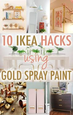 10 Times Gold Spray Paint Made Ikea Products Even Better Ikea Hack DIY Gold Spray Paint Genius! My dining room chairs & FOTO pendant light are dying to be painted gold. Gold Diy, Diy Simple, Easy Diy, Pot Mason Diy, Gold Spray Paint, Ideias Diy, Diy Décoration, Hacks Diy, My New Room