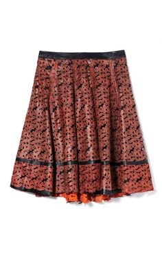 Laser Cut Rechilieu Work A-Line Skirt by Patrícia Viera for Preorder on Moda Operandi