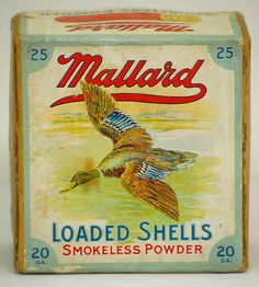Rare Clinton Cartridge Co. Mallard 20 Ga. Empty 2 Pc. Shotshell Box 2 1/4-7/8 oz. No. 6 Shot Auction