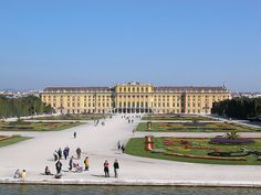 Schönbrunn Palace is the former summer residence of the imperial family. Ever since it was completed in 1780 during the reign of Rococo Empress Maria-Theresia, the palace was the favorite residence of the Habsburg monarchs. In this picture, shows the place as rectilinear classical symmetry with asymmetrical curves of the Baroque period.