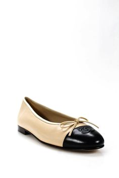 492ca83cfc42c eBay #Sponsored Chanel Womens Cap Toe CC Ballet Flats Beige Black Leather  Size 40 10