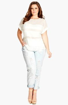 City Chic Distressed Acid Wash Boyfriend Jeans (Plus Size) available at #Nordstrom