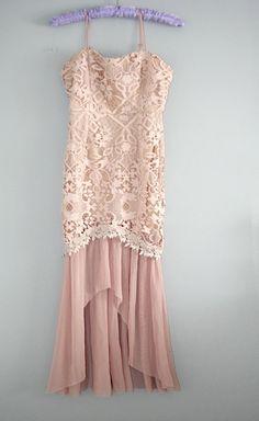 Beautiful Blush, Chiffon & Lace Mermaid Sweetheart Dress Brand: Ark & Co. FABRIC CONTENT: 100% NYLON