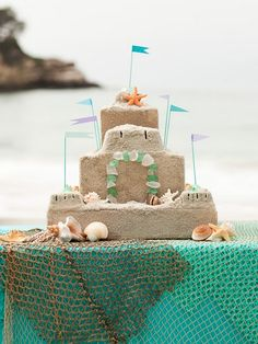 Live by the beach or want to pretend you do for your beach party? Create a DIY mod podge sand castle like this for a charming decoration (One Layer Mermaid Cake) Summer Birthday, Mermaid Birthday, Birthday Ideas, Luau Birthday, Birthday Cake, Happy Birthday, Luau Party, Beach Party, Party Sweets