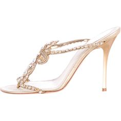 Pre-owned Rene Caovilla Crystal Embellished Sandals ($175) ❤ liked on Polyvore featuring shoes, sandals, gold, stacked heel shoes, gold shoes, strap sandals, crystal embellished shoes and strap shoes