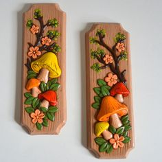 Vintage Mushroom Art Wall Hanging. Flowers Tree Branch 1970 set of 2. Ceramic Hand Painted. 70s 3-D Decor Woodland Green Orange Brown Yellow. $19.95, via Etsy.