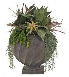 Natural Decorations, Inc. - Succulent Mix Garden | Greystone Urn | Green Burgundy