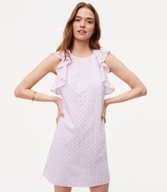 $98 Flutter trim doubles the flirty effect of this dress