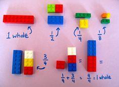 Teach maths with lego Teaching Multiplication, Math Fractions, Teaching Math, Fraction Games For Kids, Math For Kids, Math Resources, Math Activities, Lego Math, Build Math