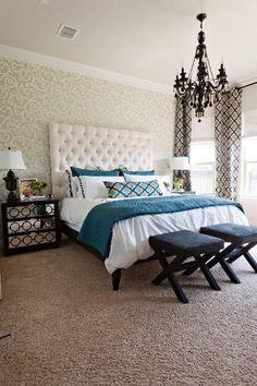 white and teal bedroom black chandelier