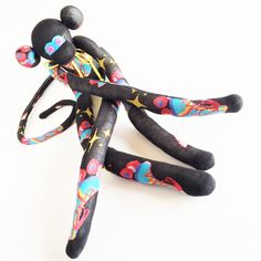 Sock Monkey-Black-Retro Roller Skates-Handmade-Monkey-Wings, Roller Derby-Derby-Skates-Novelty, Plushie, Desk, Bed, Shelf, Nursery Decor by MissysMonkeys on Etsy