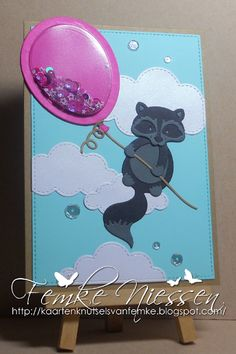 Made by Femke Niessen: shakercard flying trash panda (raccoon)