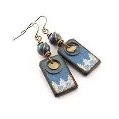 Denim and Lace Earrings  Wood Decopage Earrings by CinLynnBoutique