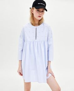 New Zara blue dress wth pearls . Fashion Women dresses from top store Clothes For Sale, Dresses For Sale, Dresses Online, Zara Shop, Marine Uniform, Pearl Dress, Zara Women, Blue Dresses, Women's Dresses