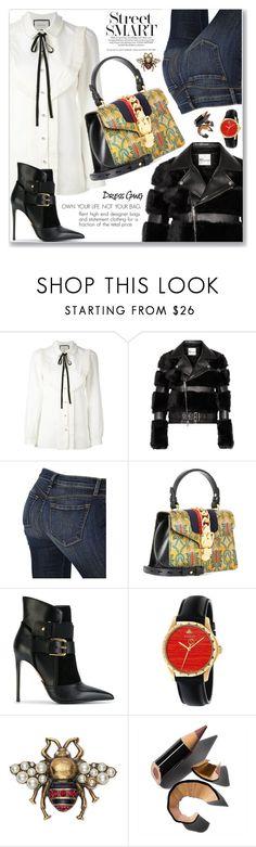 """Street Chic Style (Gucci)"" by jecakns ❤ liked on Polyvore featuring Gucci, Noir Kei Ninomiya, J Brand, Balmain, Bobbi Brown Cosmetics, StreetStyle, Elegant, gucci, luxury and rentbag"