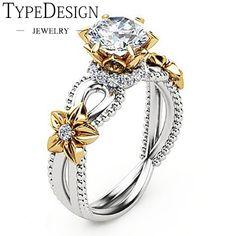 8c3990d47a9a Amarillo gema Rosa girasol diseño hueco flor anillos de boda para las  mujeres encanto de moda