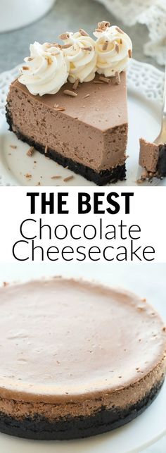 This is the BEST Chocolate Cheesecake! It's perfectly rich, creamy (with the help of Greek yogurt), and bakes up with no cracking and no water bath needed. This is the easy way to perfect baked cheesecake! | dessert recipe | cheesecake recipe | chocolate dessert | easy recipe