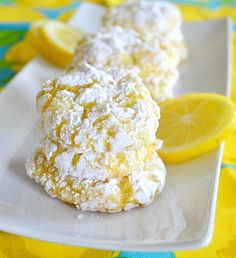{Lemon cookies...box of lemon cake mix, 1 egg, 8 oz container of cool whip, and powdered sugar. add lemon zest for extra zing}