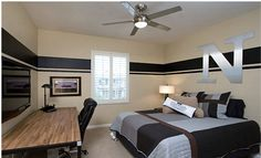 Paint ideas love the stripe....would do in red charcoal black and grey for my teen son's room.