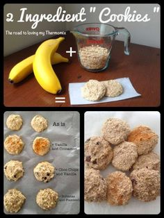"""2 bananas and 1 cup of oats. Blitz the oats just to make them a tad finer. Add two bananas and blitz on speed 4 until just combined. Spoon mixture onto a prepared tray in small """"mounds"""" and bake at 180 degrees for 15 minutes. Raw Food Recipes, Sweet Recipes, Cooking Recipes, Healthy Recipes, Banana Oat Cookies, Banana Oats, 2 Ingredient Cookies, Bellini Recipe, Biscuits"""