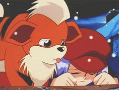 Growlithe licking a young James