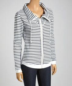 Look at this #zulilyfind! Black & White Stripe Stud Zip-Up Jacket #zulilyfinds