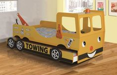yellow tow truck bed
