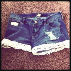 Shorts I made out of jeans. (: