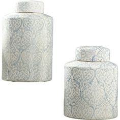 Perfect displayed on its own in the kitchen or coupled with a vase of wildflowers in the foyer, this ceramic canister features a scrolling pattern in blue an...