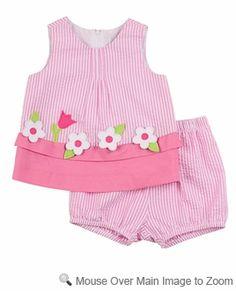 Florence Eiseman Infant Girls Pink Stripe Seersucker Window Box Bloomers Set