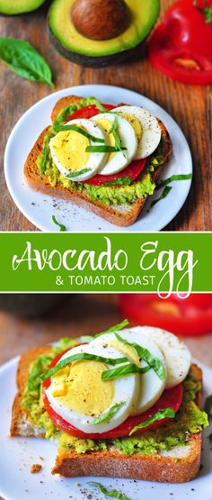 avocado egg and tomato toast long