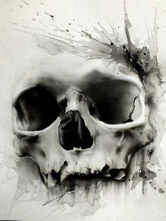 Черно-белый эскиз татуировки в виде черепа