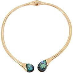 Robert Lee Morris Soho Golden Abalone Collar Necklace ($58) ❤ liked on Polyvore featuring jewelry, necklaces, gold, robert lee morris, robert lee morris necklace, robert lee morris jewelry, golden jewelry and golden necklace