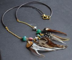 Collier pierres et plumes boho sur Etsy, CHF29.08