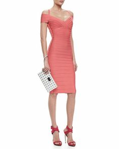 WOWSA! ~ LOVE THIS DRESS!!! MOB maybe! Off-The-Shoulder Bandage Dress, Hibiscus by Herve Leger at Neiman Marcus.