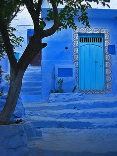 Chefchaouen, Morocco Beautiful in blue Jodhpur, Bleu Indigo, Blue City, Foto Art, World Of Color, Incredible India, Doorway, Lapis Lazuli, Architecture