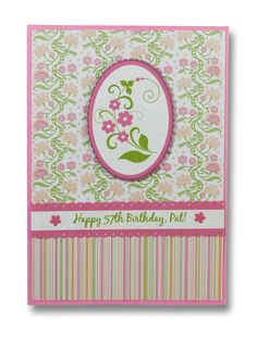 Birthday card for sis. Cardstock from DCWV Nana's Nursery Girl. Edited floral vector and die cut with mat.