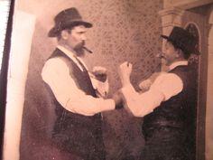 Tintype Men Boxing and Smoking Cigars.