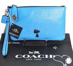 COACH X Peanuts SNOOPY Limited Edition Blue Leather Turnlock Wristlet Bag NWT  #Coach #WristletClutch