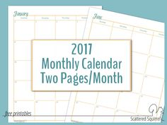 2017 Dated Monthly Calendar printable - each month is spread across 2 pages to maximize writing space
