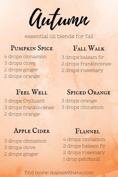 Fall Essential Oils Blends Bring the smell of fall into your home with these fall essential oils blends!Bring the smell of fall into your home with these fall essential oils blends! Fall Essential Oils, Essential Oil Diffuser Blends, Essential Oil Combinations, Diffuser Recipes, Aromatherapy Oils, Aromatherapy Recipes, Perfume, Cedarwood Oil, Cedarwood Essential Oil Uses