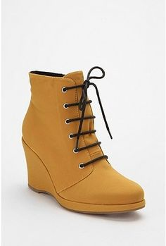 wedge boots in mustard