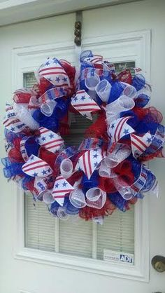 4th of July Wreath by BCsCraftyCreations on Etsy https://www.etsy.com/listing/190864656/4th-of-july-wreath