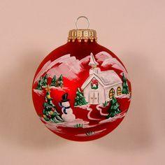 Red Winter Scene Glass ornament.
